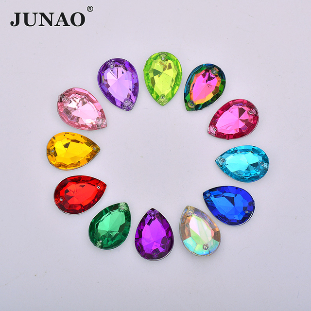 JUNAO 13 18mm 18 25mm Sew On Mix Color AB Crystal Rhinestones Pointback  Drop Strass Crystal Sewing Acrylic Stones Applique ff9903c0c2a7