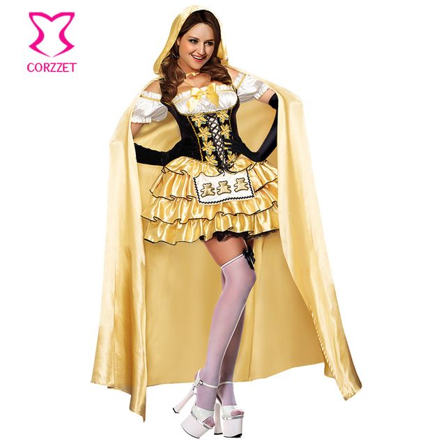 goldblack ruffle satin fancy mini dress with cloak cosplay adult women goldilocks costume deguisement - Goldilocks Halloween Costumes