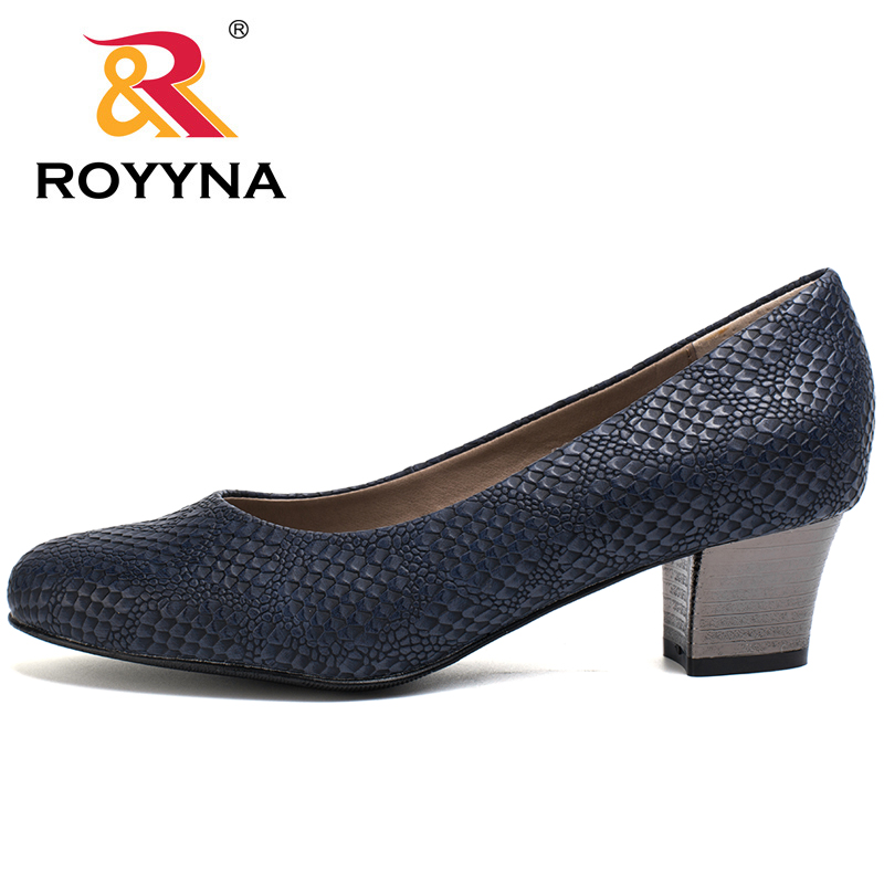 Image 2 - ROYYNA 2017 Popular Style Women Pumps Square Heels Ladies Shoes Serpentine Upper Material Women Shoes Shallow Women Casual Shoeswomen pumpswomen shoesshoes woman shoes women -