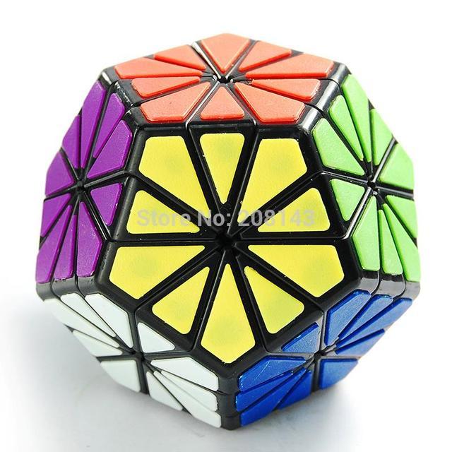 Qj Pyraminx Crystal QJ 12 color crisantemo Dodecahedron Puzzle cubo negro baldosa no la etiqueta engomada