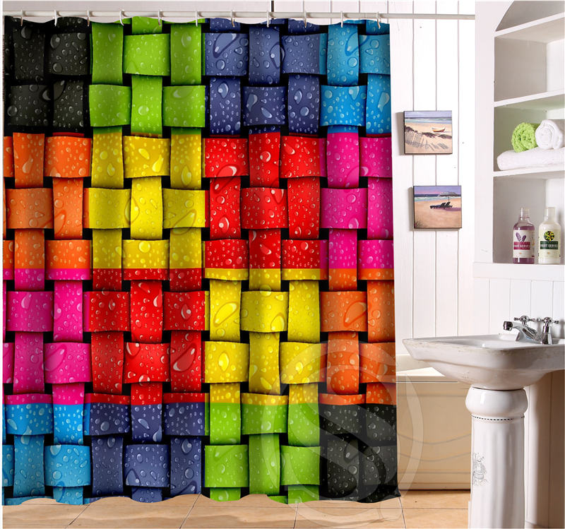 Colored fluorescent color decorative pattern Personalized Shower Curtain Fabric Bath Curtain Waterproof Vintage 0506-L08