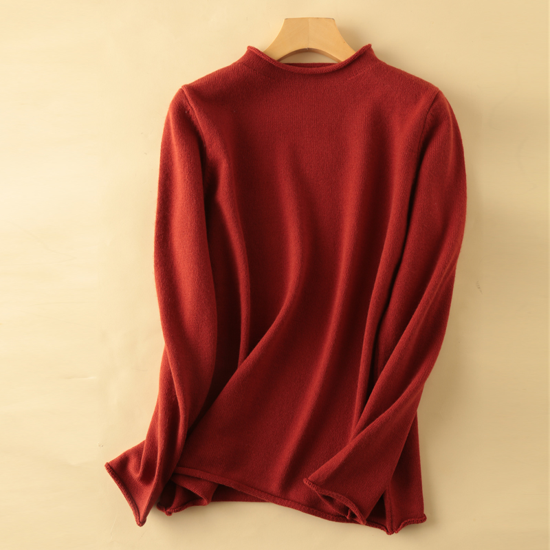 Cashmere blend thick knit sweater blouse autumn and winter curling half high collar long sleeve pullover