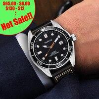 45 мм Parnis водонепроницаемые Diver механические часы с автоматически подзаводом керамические Rotatig ободок 5ATM сапфировые наручные часы мужские п