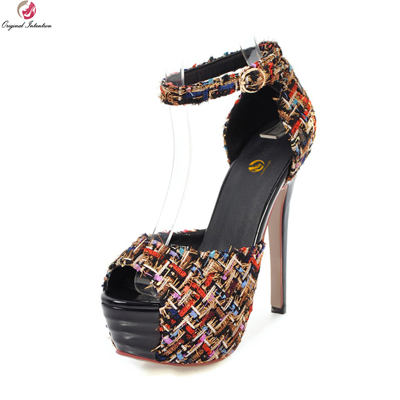 Original Intention New Sexy Women Sandals Stylish Open Toe Thin Heels Sandals Black White Beige Shoes Woman Plus US Size 3-10.5 hot selling sexy sloid thin heels sandals woman new desig lace red white black sandals peep toe elegant for women free sipping