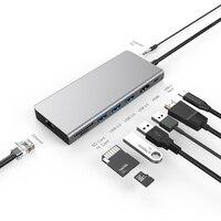 AMKLE 유형 C USB HDMI 접합기 USB C 4K HDMI 허브 RJ45 SD/TF PD 이더 네트 접합기 Thunderbolt Dongle