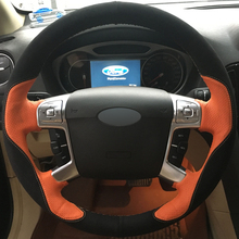 DG DIY Hand-stitched Car Steering Wheel Cover Black Suede Orange Leather for Ford Mondeo Mk4 2007-2012 S-Max 2008