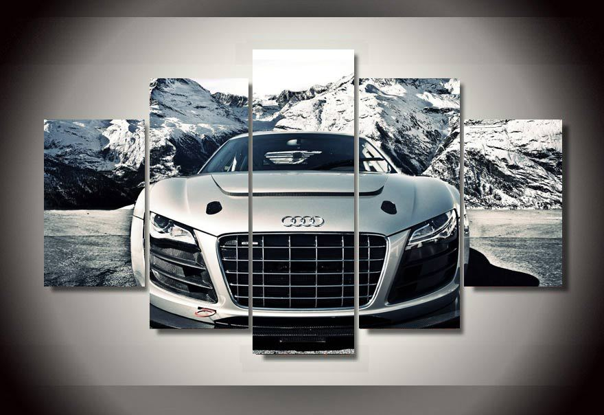 Unframed Printed Audi Car 5 Piece Picture Painting Wall Art Children's Room Decor Poster Canvas Free shipping