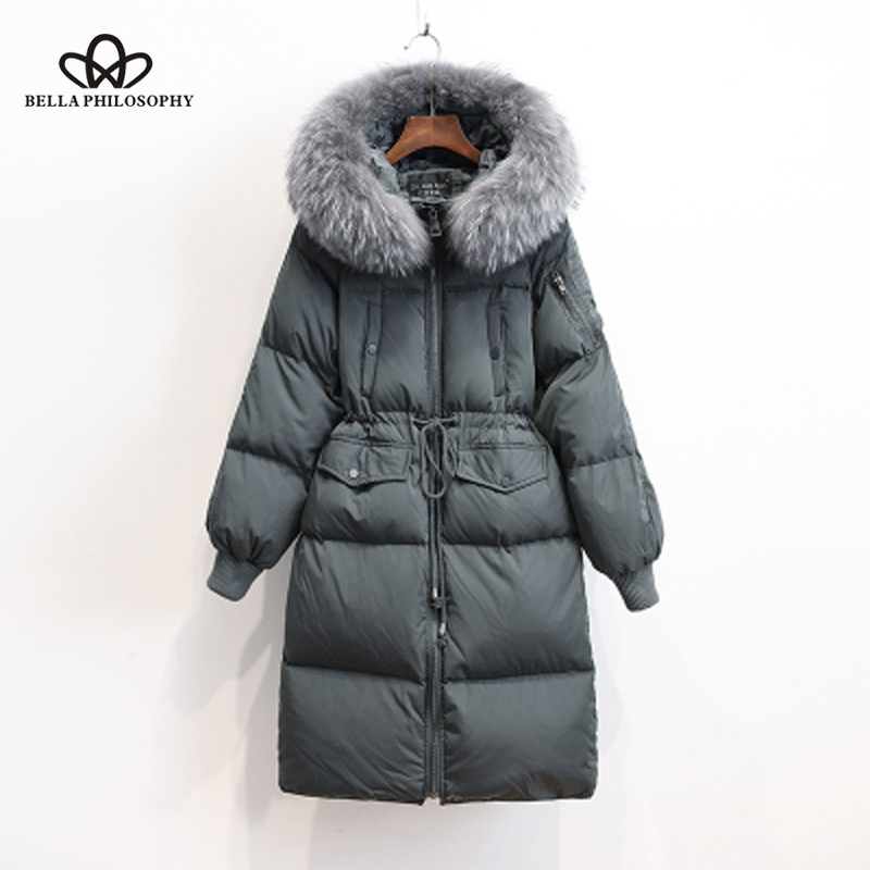 Plus Size Chaqueta Mujer Winter Parka Real Raccoon Fur White Duck   Down   Jacket Women Thicken Brand   Coat   Hooded Invierno