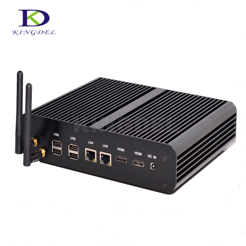 Hot Selling Fanless Mini PC Mini Desktop HTPC With I7 5500U 5600U Dual Core Dual Gigabit LAN Dual HDMI SPDIF 4*USB3.0 Windows 10