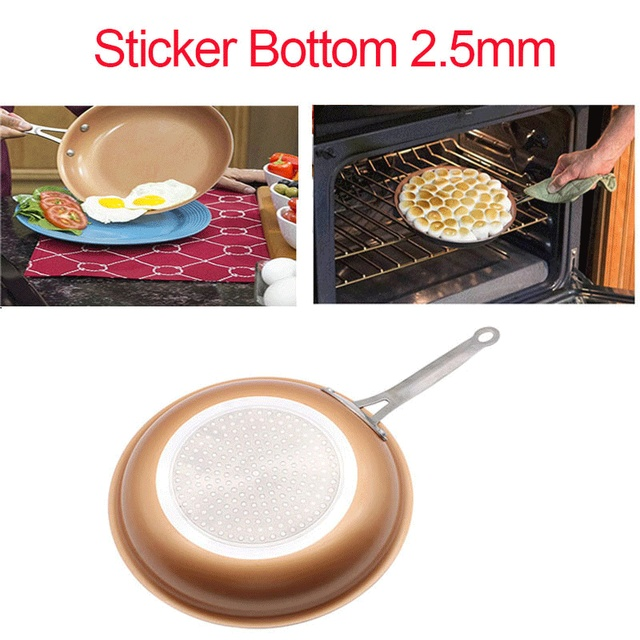 Nonstick Copper Frying Pan Non-stick Skillet Copper Saucepan Cookware Oven & Dishwasher Safe Ceramic Pan Frying Red Pans 2.5mm