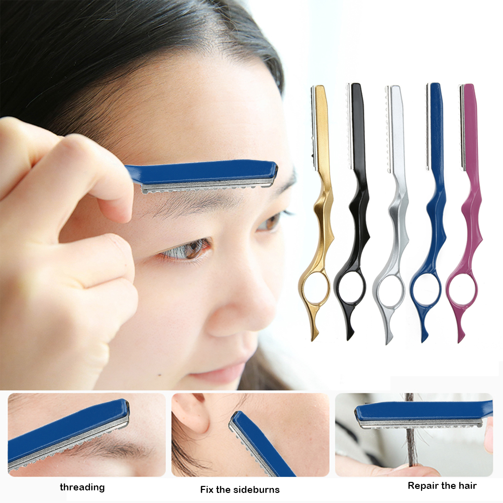 Portable Stainless Steel Eyebrow Hair Remover Eye Makeup Eyebrow Trimmer Trimming Hair Shaver Razor Blade Brush Tool