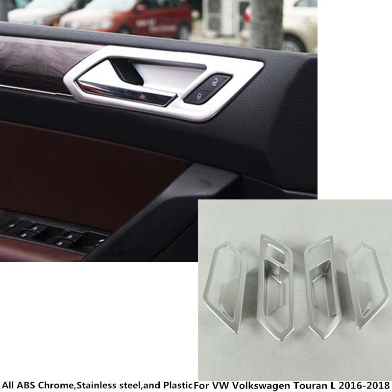High quality car styling cover stick trim ABS chrome door inner handle bowl frame 4pcs For VW Volkswagen Touran L 2016 2017 2018 car styling for vw volkswagen touran 2016 2017 stainless steel auto full window trims cover external garish frame 12pcs set