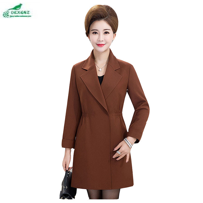 Autumn font b women b font coat middle aged large size medium long section fashion font