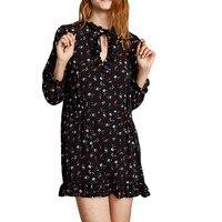 HDY Haoduoyi Brand 2018 Black Floral Printed Long Sleeve Mini Dresses Women O Neck Ruffles Peter