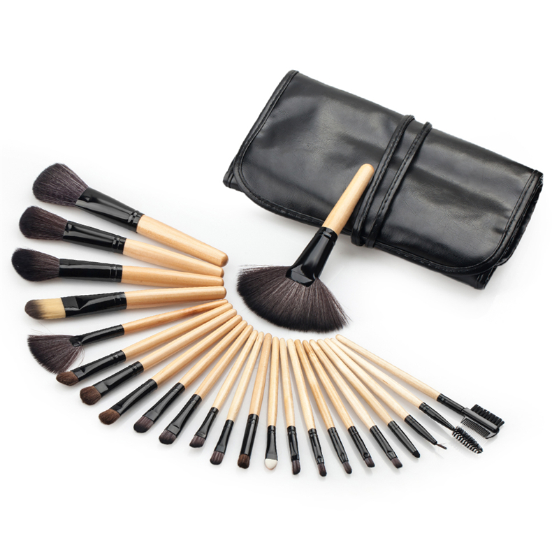 24pcs Makeup Brushes Set Wood Handle Nylon Foundation Powder Face Eye Blush Blending Brush Cosmetic Make Up Beauty Tools PU Case