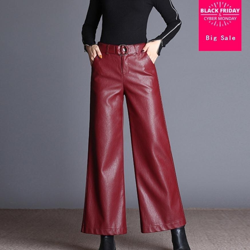 Fashion Brand Ankle-Length sheep pu leather   pants   2017 autumn Women's High package hip Quality Slim   Wide     Leg     Pants   wj1641