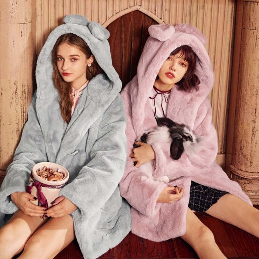 Women Winter Hooded Imitation Fur Long Coat <font><b>Plush</b></font> Rabbit Ears Coat Kawaii Coelho Ear Manteau Femme Hiver Furs #<font><b>2</b></font>