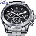 Reloj Hombre PREMA Watch Men Montre Homme Diamond Water Resistant Clock Men Quartz Steel Black White Watch Relogio Masculino