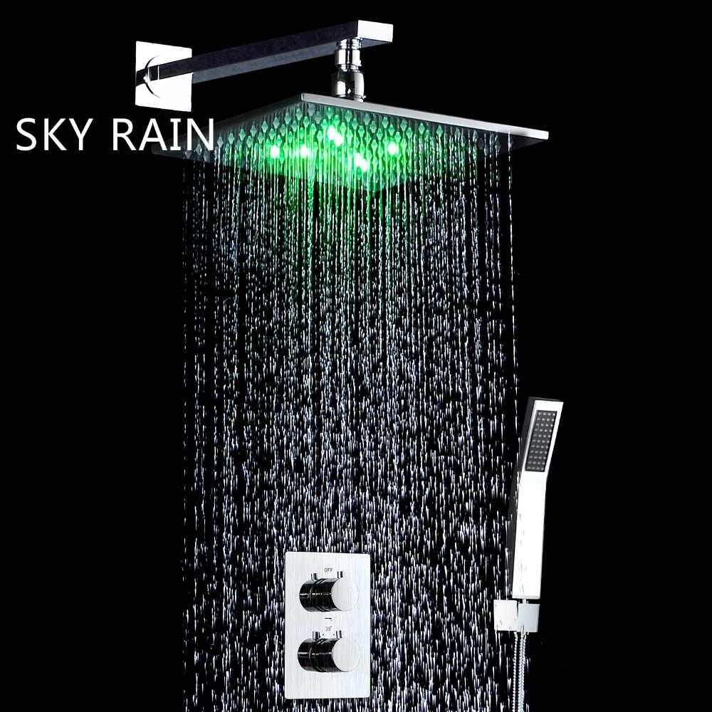 スカイ雨浴室 2 つの方法 Led シャワー蛇口降雨シャワーヘッドサーモスタットミキサーバルブハンドヘルドシャワー