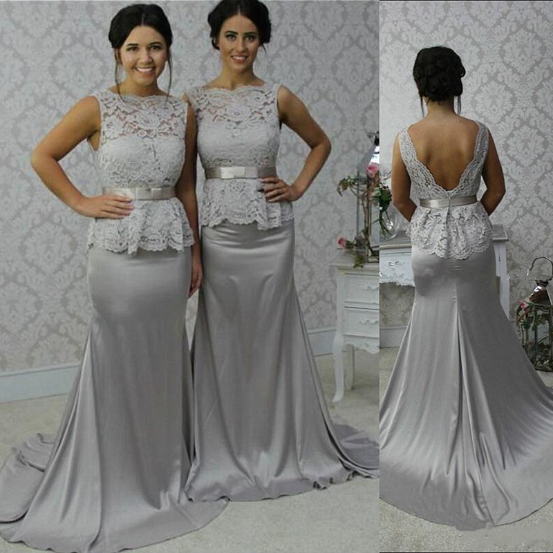 018e729a05 2017 Gray Lace Peplum Mermaid Bridesmaid Dresses Long Women Wedding ...