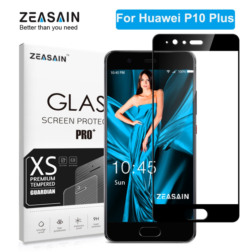 ZEASAIN 2.5D 9H Hardness Full Cover Screen Protector Glass Tempered for Huawei P10 Plus P10Plus P 10 Film Pelindung