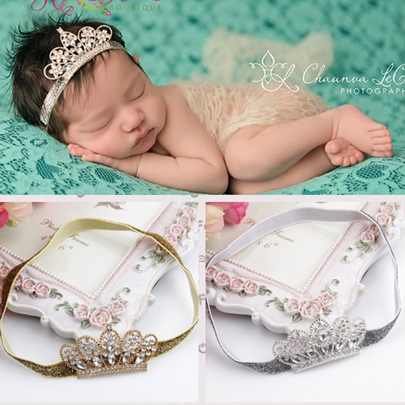 Newborn Photography Props Baby Girl Headbands Girls Elastic Hair Band Metal Crown Headdress Headwear Cute Hair Accessories