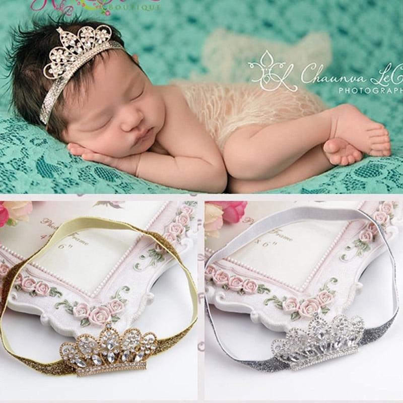 Newborn Photography Props Baby Girl Headbands Girls Elastic Hair Band Metal Crown Headdress Headwear Cute Hair Accessories