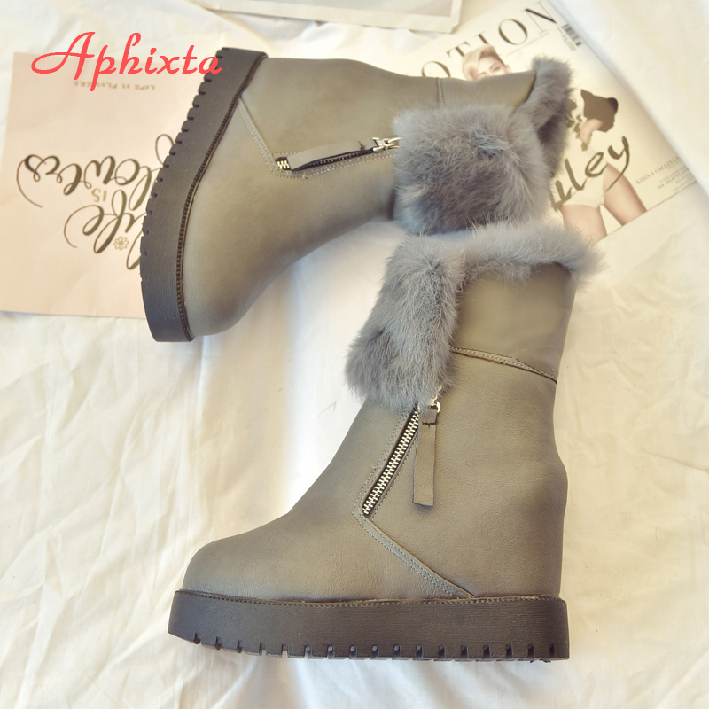 Aphixta Snow Boots 100% Real Rabbit Fur Shoes Women Classic Mujer Botas Zip Flat Heel Waterproof Winter Shoes Mid-Calf Boots 2016 fashion waterproof snow boots women s mid calf boots flat winter botas mujer platform fur shoes woman size 30 52