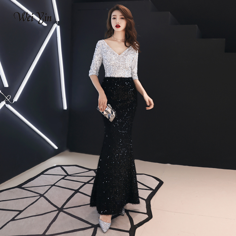 Weiyin V Neck Vintage Mermaid Evening Dress 2019 New Arrivals Sequined Dress Lace Elegant Woman Party Dress WY1212