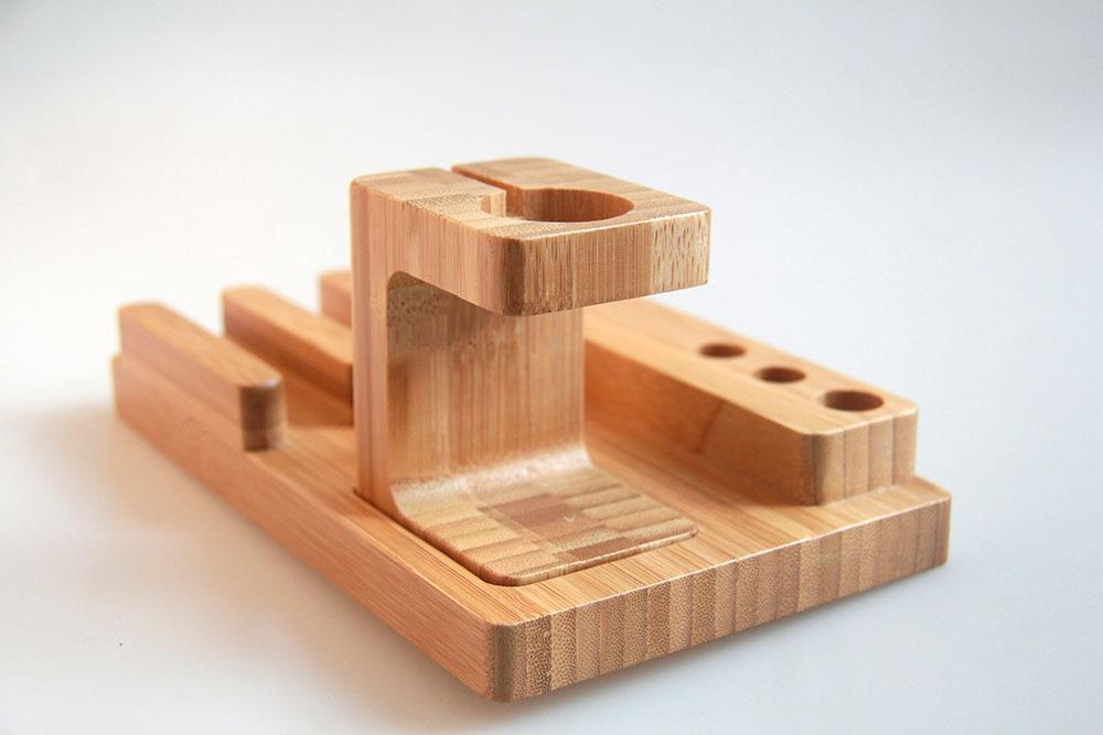 LYBALL Naturalne drewno Stojak biurkowy Bambusowy drewniany uchwyt - Części i akcesoria do telefonów komórkowych i smartfonów - Zdjęcie 2