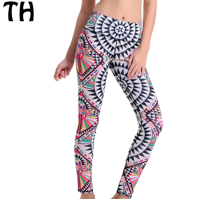 2016 Geometric 3D Digital Print Stretch Compression Leggings Women Workout Skinny Leggins Mujer #160669