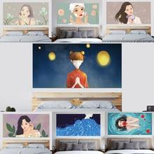 3D Hoofdbord Dragen Oorbellen Blazen Haar Gezicht Bubble Lippenstift Blauw langharige Schoonheid Meisje Home Decor Muurschildering Pasta 90x180 cm