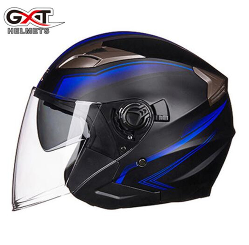 GXT Motorcycle Helmet Open Face Helmet ABS Motorbike Helmet Biker Safety Double Lens Casque Casco Moto