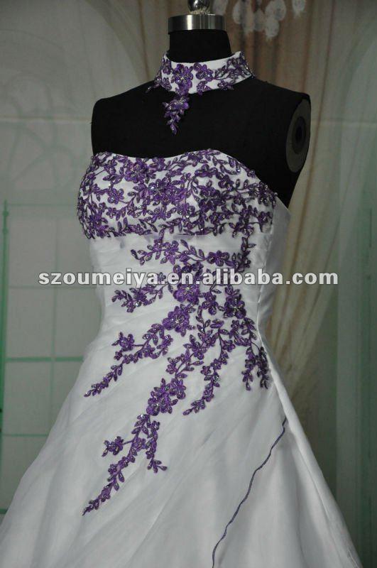 Free Shipping Oumeiya ORW215 Organza A line Magazine Style Purple ...
