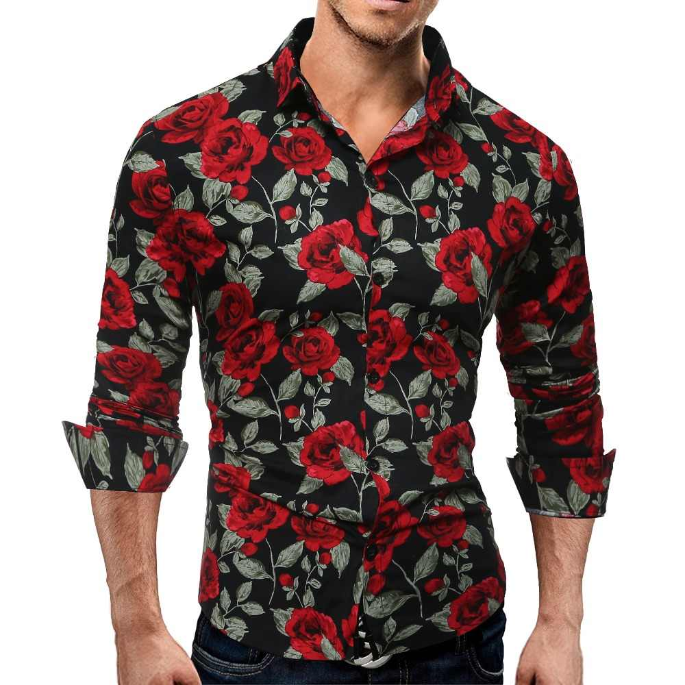 Laamei Mannen Met Lange Mouwen Casual Shirt Fashion Rose Bloem 3D Print Bloemen Shirt Turn-Down Kraag Slim Fit shirt Heren Kleding