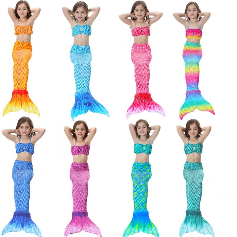 Girls Swimwear Bikini Mermaid Swimsuit 3-piece Sets Toddler Kids Summer Clothing Beach Costume Teenage Girl Clothes 10 12 Years