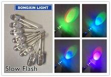 1000 pcs 5mm עגול איטי RGB פלאש קשת צבעים אדום ירוק כחול אור פולטות דיודה LED משלוח חינם