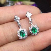 Изумрудные серьги Бесплатная доставка натуральной Изумрудный 925 серебро Fine jewelry