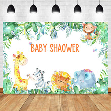 Safari Jungle Theme Backdrop Cute Animal Baby Shower Party Banner Photography Background Custom Newborn Backdrops