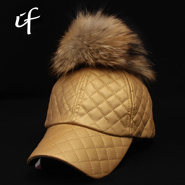 PU Caja de Teñido de piel de Mapache Verdadero pom Pompón Bola de Béisbol de Cuero casquillo del Otoño Sombreros de Invierno Para Hombres de Las Mujeres Caliente Del Sombrero Del Snapback