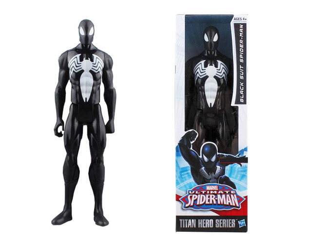 Black Spiderman toys Black Suit Spider-man Action Spiderman Figure toys Collectible Model PVC 12""