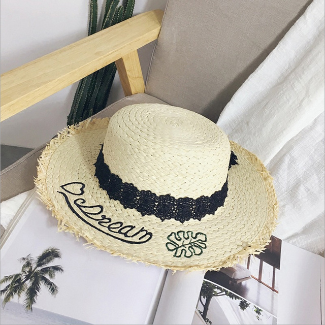 2018 New Summer Lace Bow Raffia Hat Temperament Flat Straw Hats Women s Sea  Beach Vacation Leisure 879484c40565