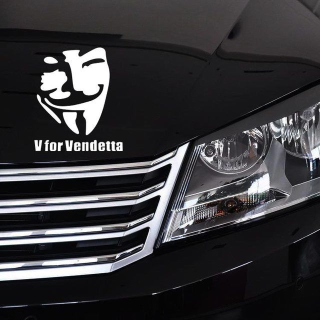 1PC 11*14CM 2019 Funny Car Styling  V FOR VENDETTA Classic Movie Mask Stickers Car Stickers Vinyl Decals Truck Decor car body