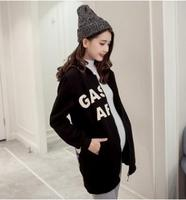 Letter Printed Hooded Maternity Outwear 2017 Autumn Winter Plus Velvet Warm Pregnancy Tops Clothes for Pregnant Women SZ1123