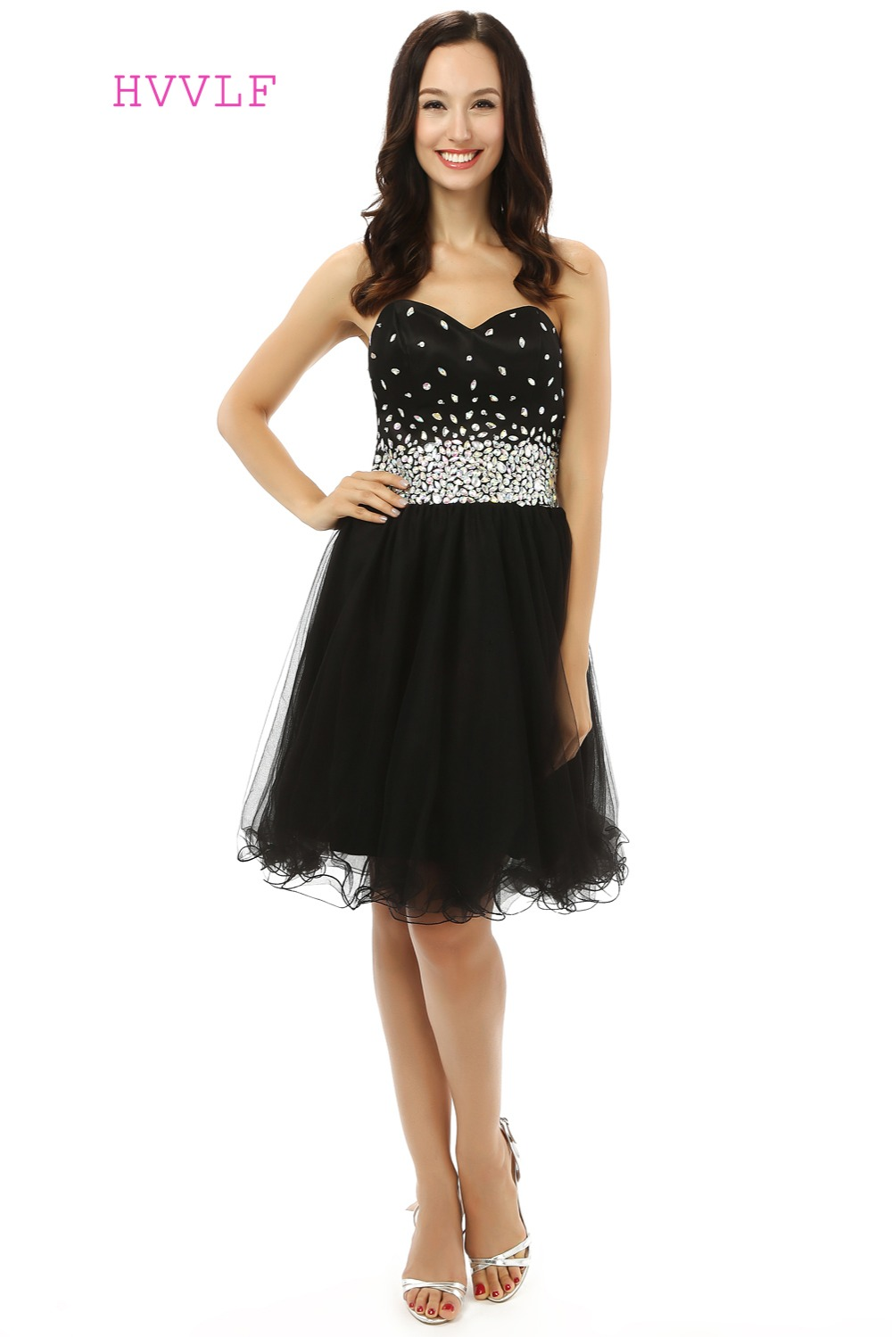 Black Homecoming   Dresses   A-line Sweetheart Organza Beaded Crystals Short Mini Sparkly Sweet 16   Cocktail     Dresses   2019