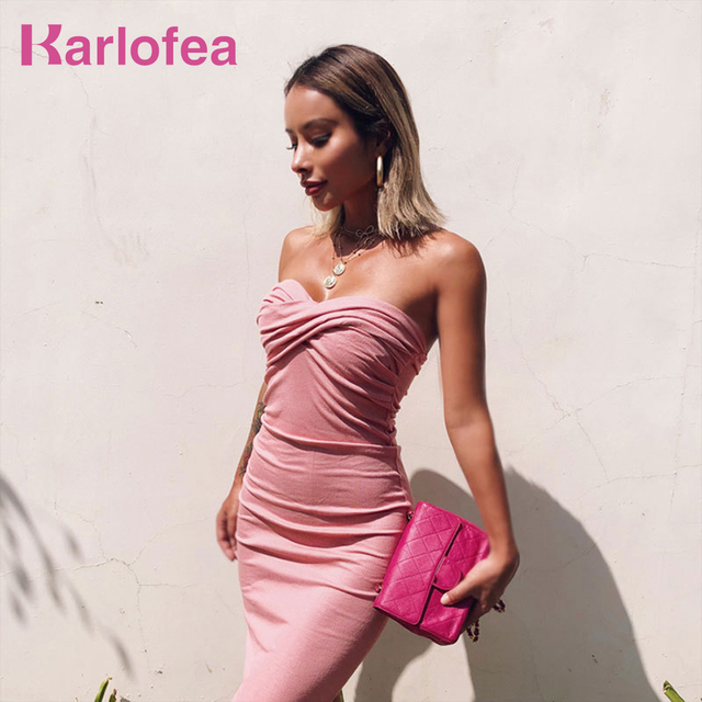 Karlofea Sexy Low Neck Strapless Midi Dress Club Evening Party Vestidos  Fashion Daily Dresses Outfits For Women Vintage Knitted 6fe17e52211f