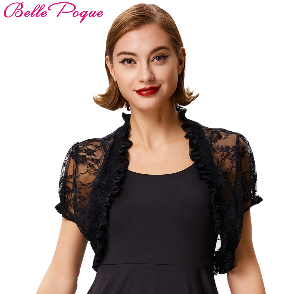 f58487d153930 Sexy Lace Bolero Womens Elegant Shrug Short Sleeve Black Khaki Ivory  Wedding Evening Prom Cropped Shrugs
