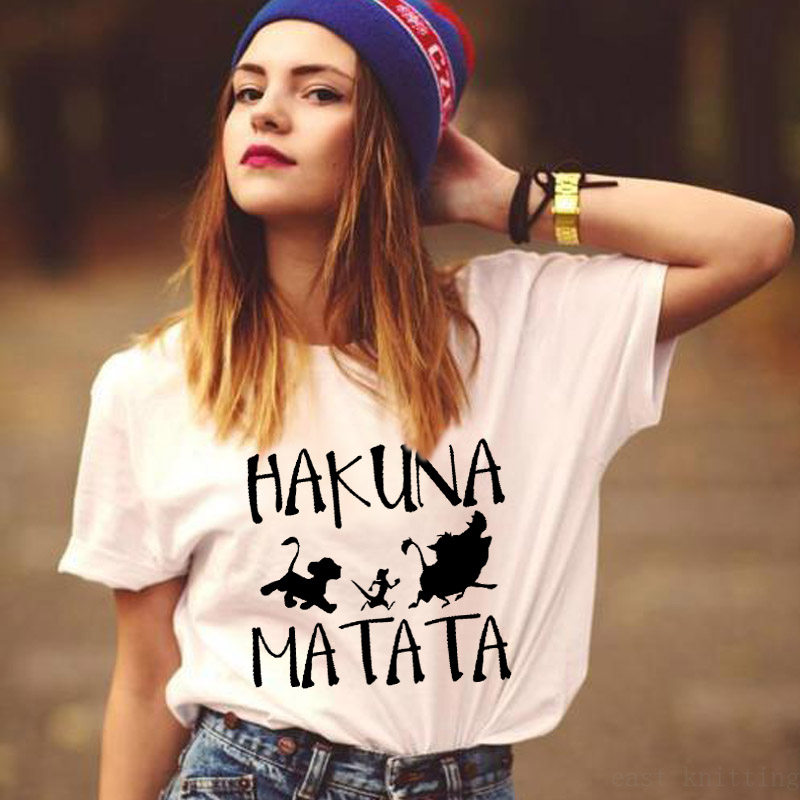 ZOGANKI Hakuna Matata Letter Print Women Tee Shirt Summer Women Short Sleeve T Shirt Plus Size Women Casual Tops Female T-shirts