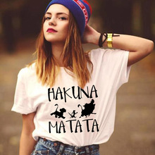 ZOGANKI Hakuna Matata Letter Print Women Tee Shirt Summer Women Short Sleeve T Shirt Plus Size Women Casual Tops Female T-shirts wotwoy casual cotton t shirt women short sleeve summer tops women embossing letter print tee shirt female loose t shirts women