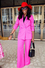Hot Pink Women's Casual Business Formal Suits Female Office Uniform Style Ladies 2 Pieces Prom Fashion Suits Trajes Mujer